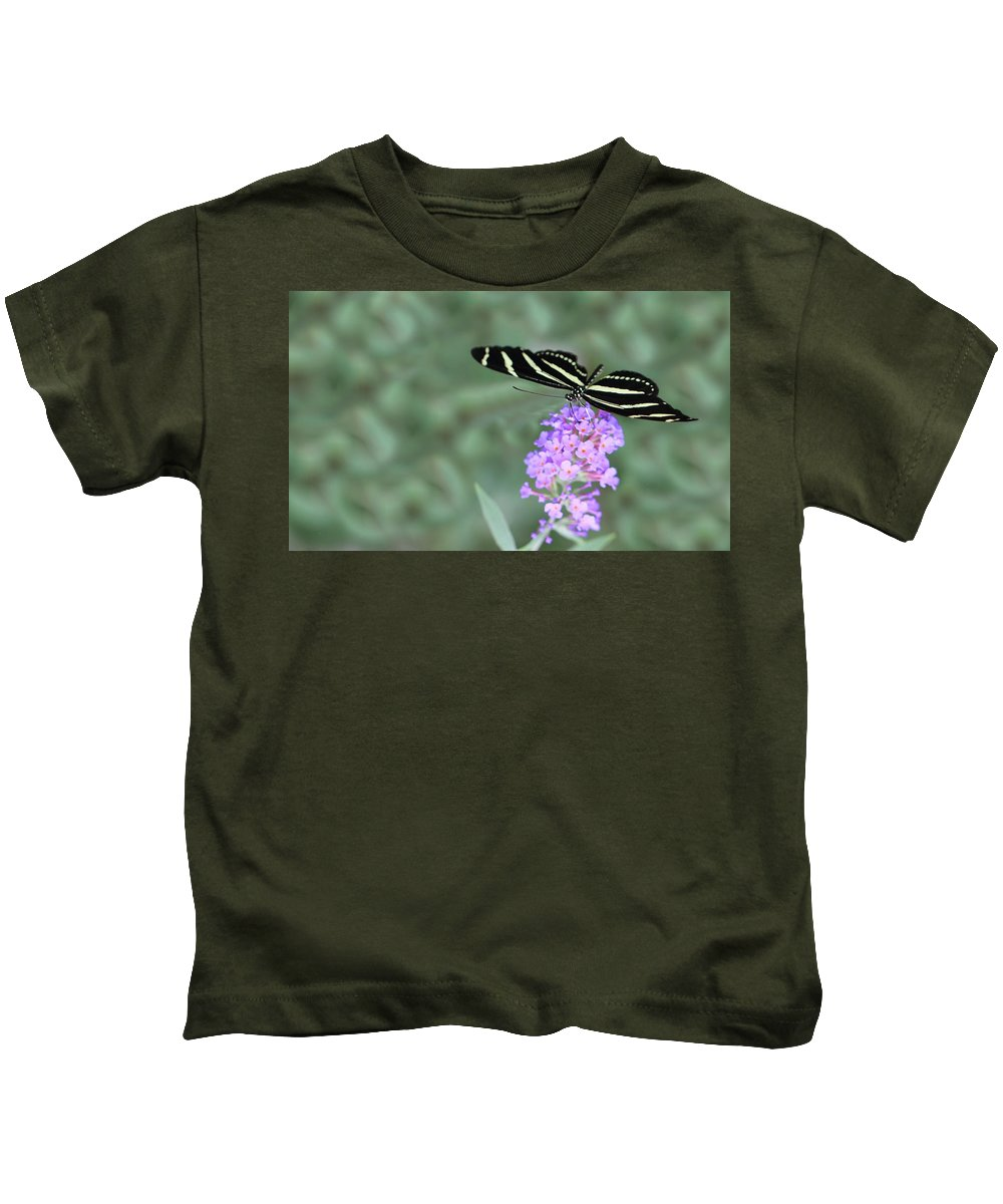 Nature Kids T-Shirt featuring the photograph Zebra Longwing Butterfly by Shelley Neff
