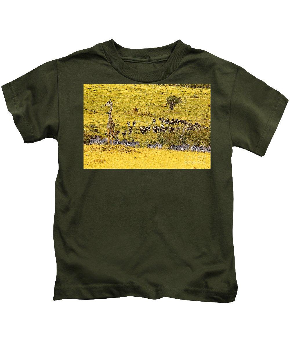 Zebra Kids T-Shirt featuring the digital art Zebra, Wildebeest And Giraffe by Bruce Thompson