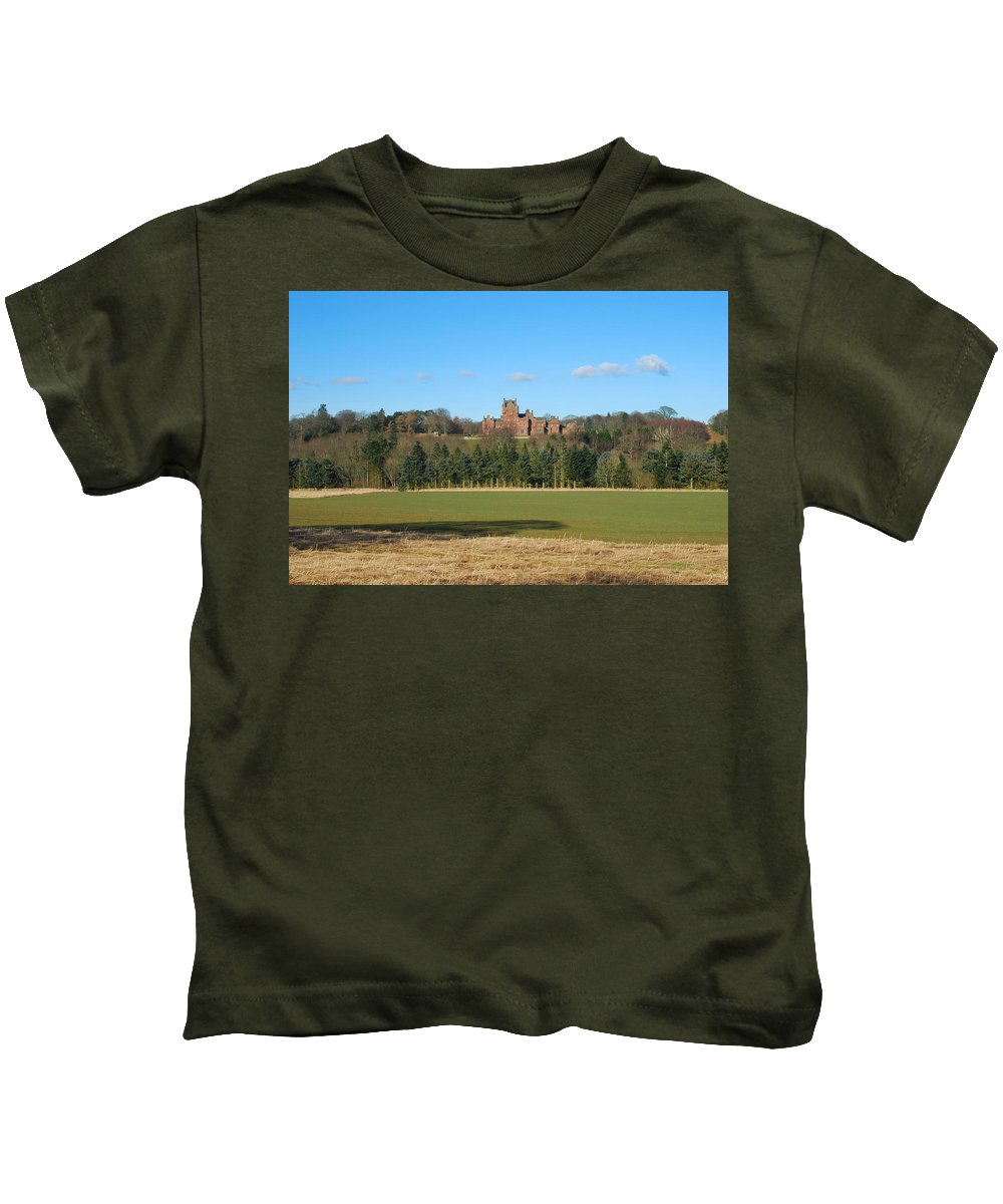 Ayton Kids T-Shirt featuring the photograph Ayton Castle From South, Berwickshire by Victor Lord Denovan