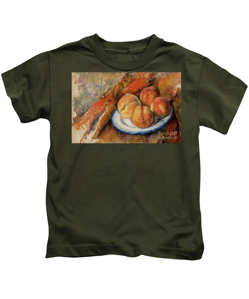 Peaches Kids T-Shirt featuring the painting Four Peaches On A Plate by Paul Cezanne