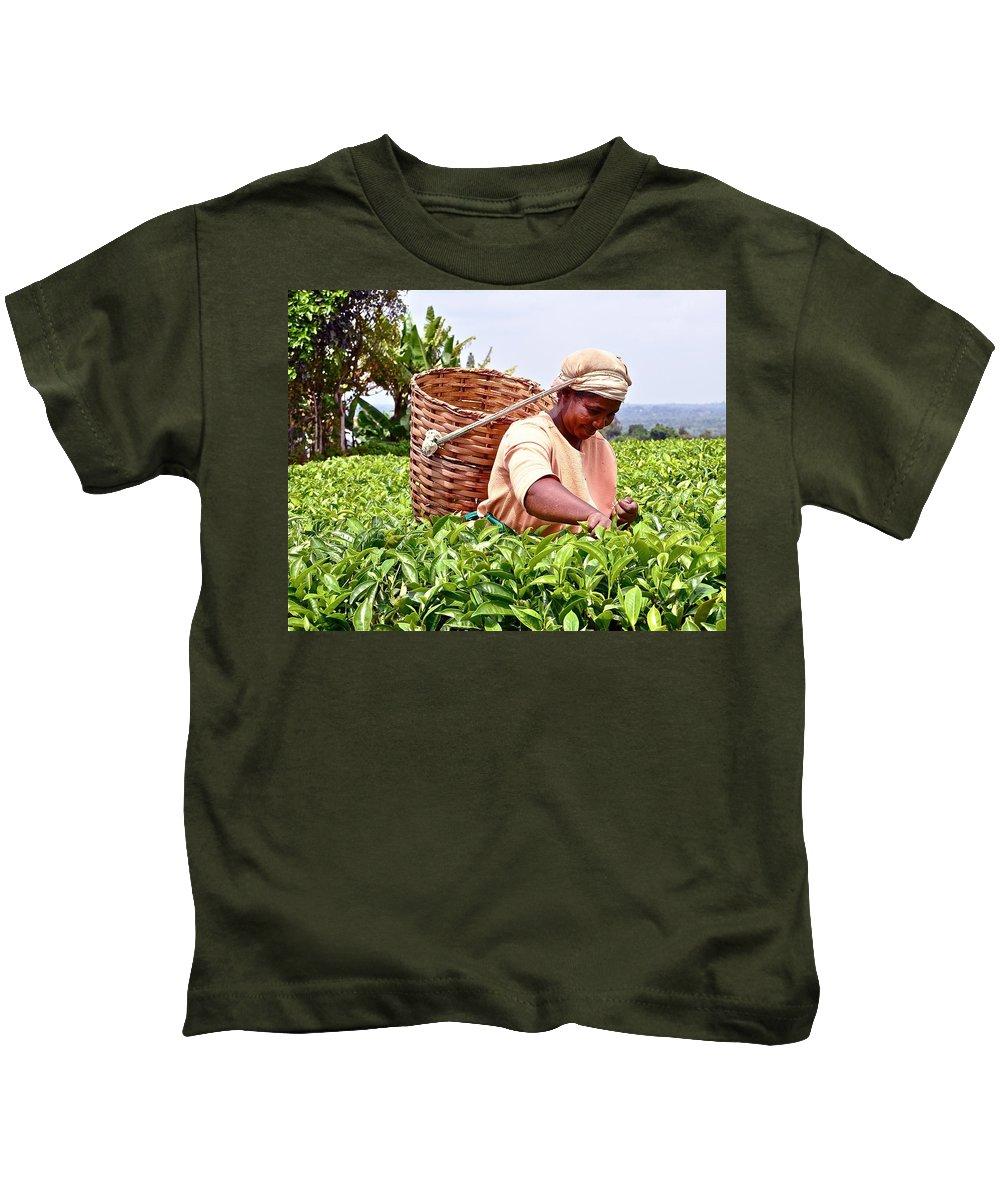 Kenya Kids T-Shirt featuring the photograph Tea Picker In Kenya by Marge Marino