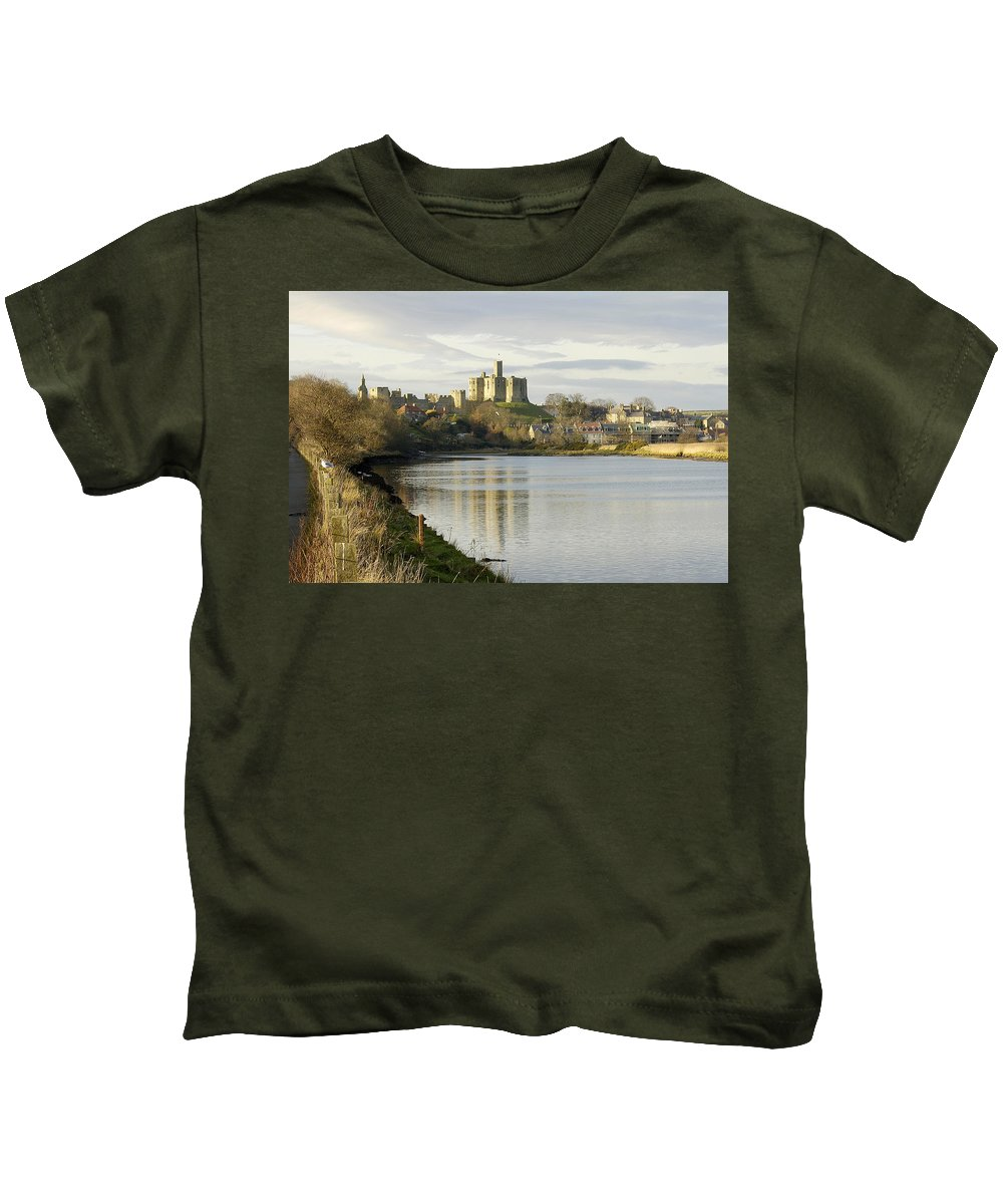 Castle Kids T-Shirt featuring the photograph Warkworth Castle And River Aln by Victor Lord Denovan