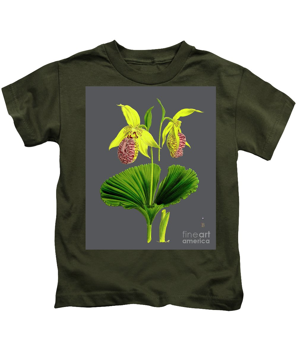 Vintage Kids T-Shirt featuring the digital art Orchid Old Print by Baptiste Posters