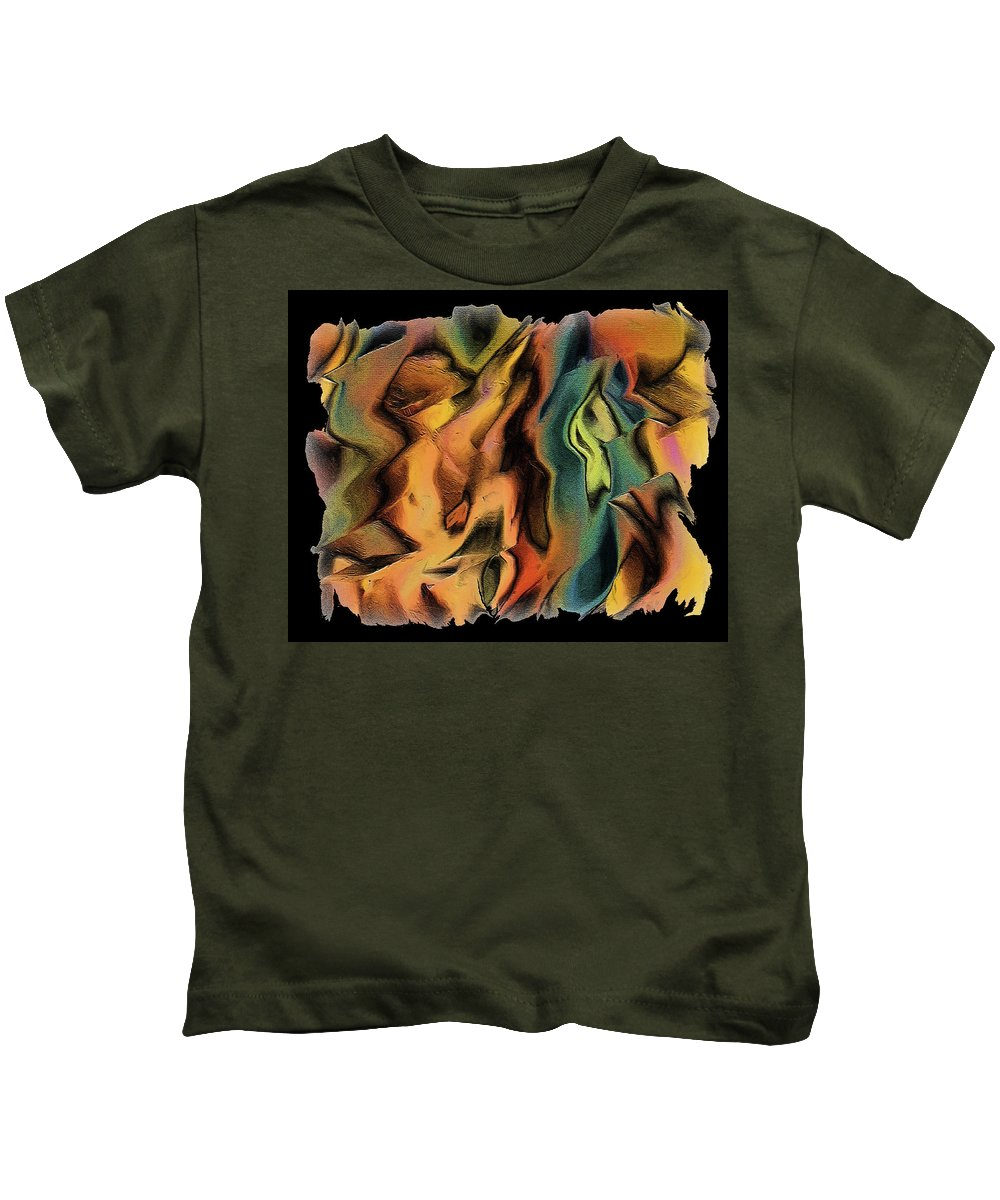 Abstract Art Kids T-Shirt featuring the digital art 15cq by Ely Arsha