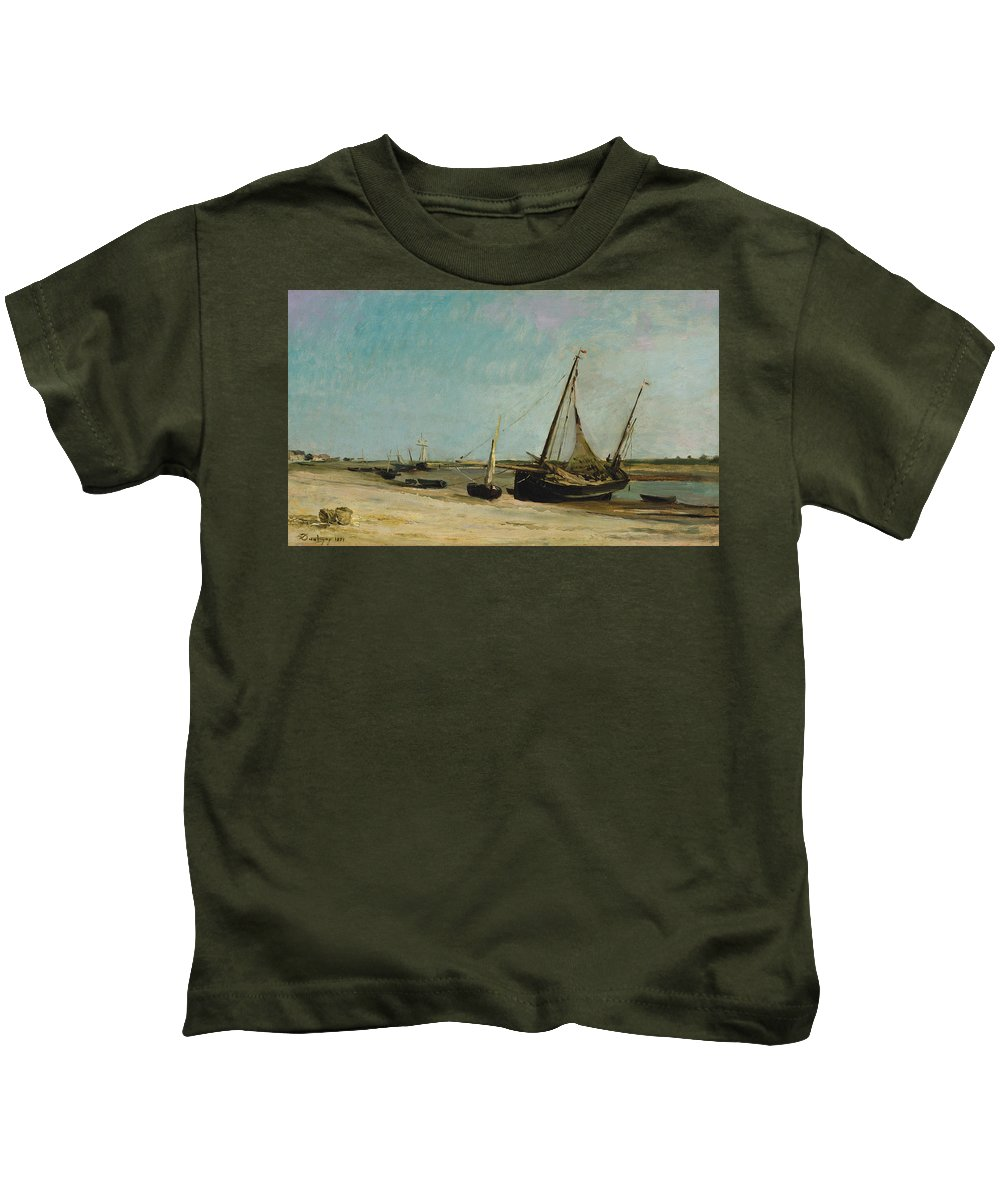 Charles-francois Daubigny Kids T-Shirt featuring the painting Boats On The Seacoast At Etaples by Charles Francois Daubigny