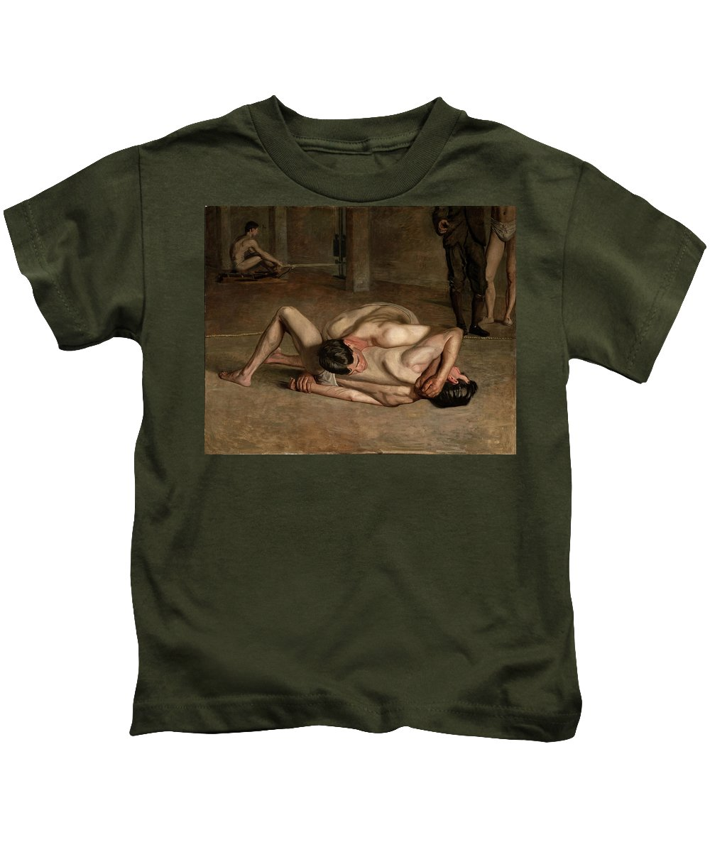 Thomas Eakins Kids T-Shirt featuring the painting Wrestlers by Thomas Eakins