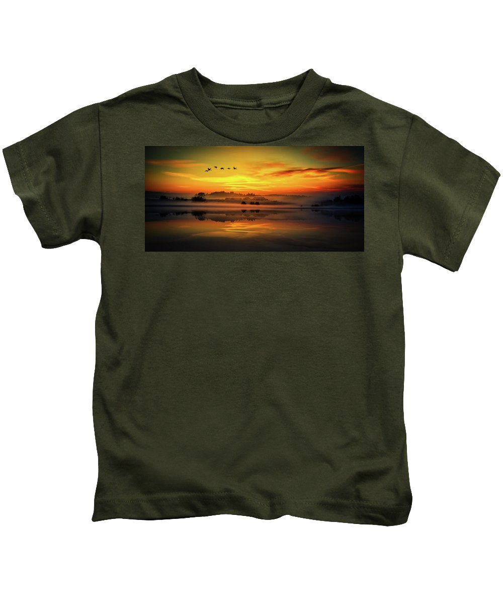 Geese Kids T-Shirt featuring the photograph Peaceful Serenity by Pixabay