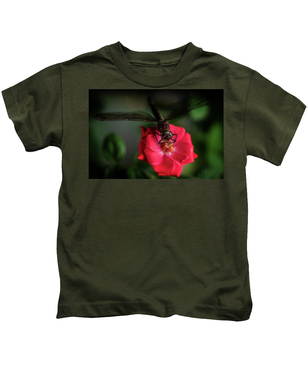 Beautiful Kids T-Shirt featuring the photograph Dragonfly On A Flower Of A Red Rose. Macro Photo by Oleg Potaskuev