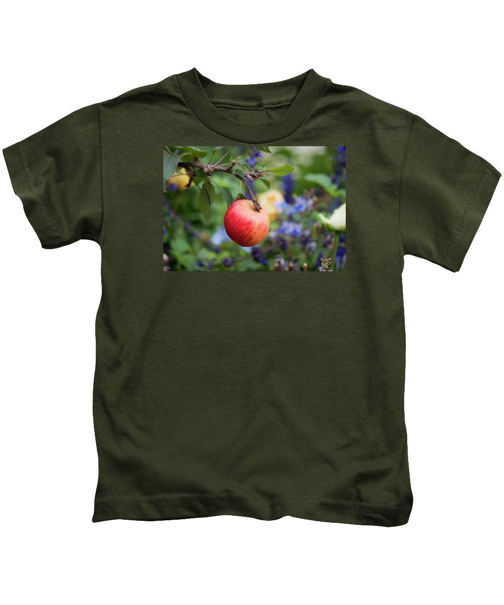 Apple Kids T-Shirt featuring the photograph Apple On The Tree by Jennette Lau