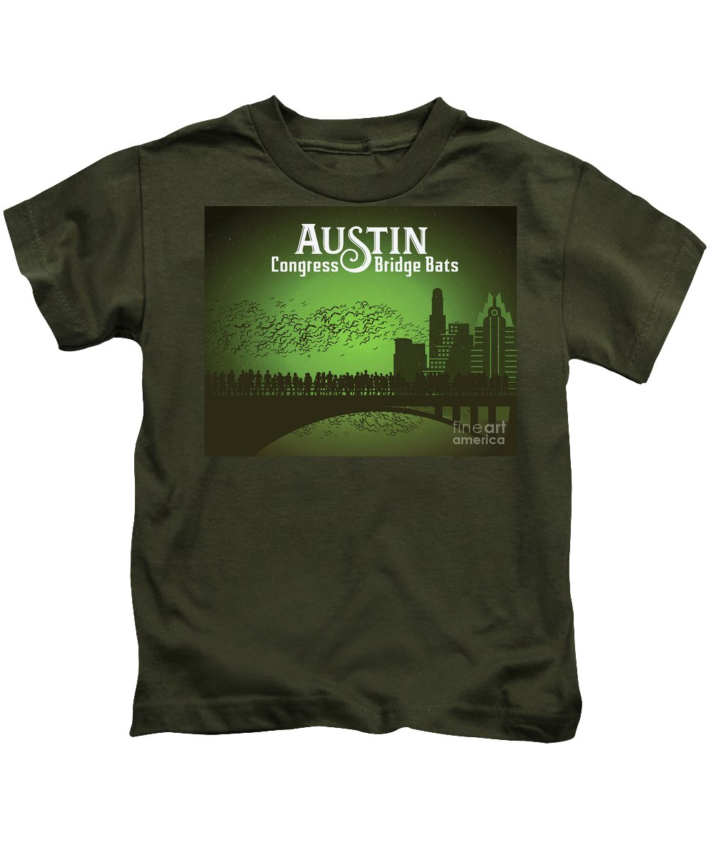 Austin Congress Bridge Bats In Green Silhouette Kids T-Shirt featuring the photograph Austin Congress Bridge Bats In Green Silhouette by Weird Austin Photos