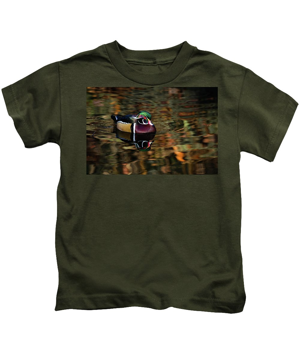 Wood Duck Kids T-Shirt featuring the photograph Autumn Woody by James Hardison