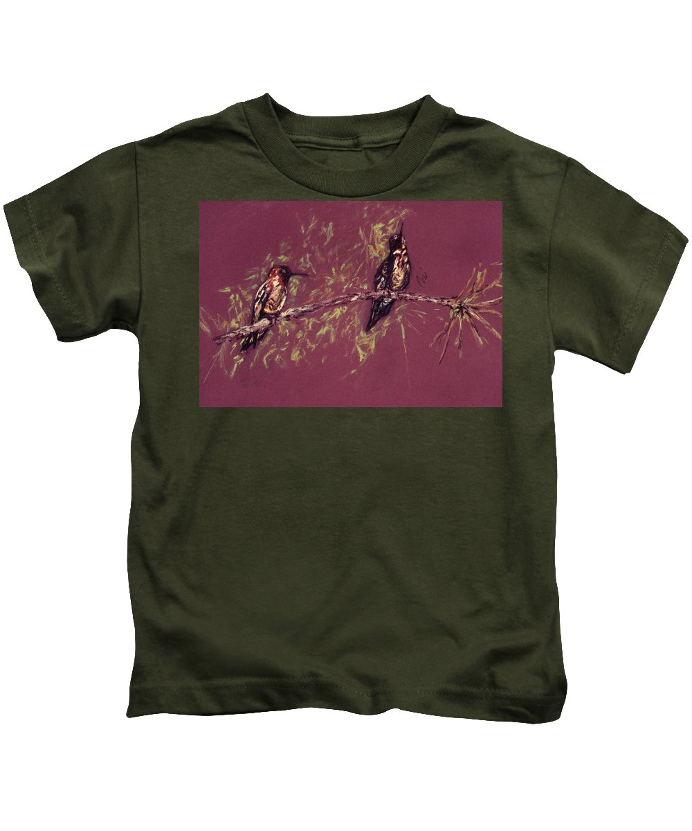 Humming Birds Kids T-Shirt featuring the drawing Branching Out by Cori Solomon