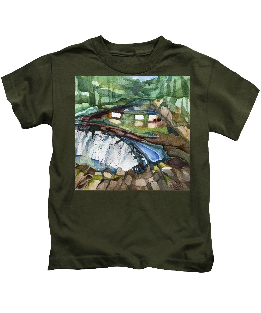 Bronx River Kids T-Shirt featuring the painting Bronx River Falls by Lynne Bolwell