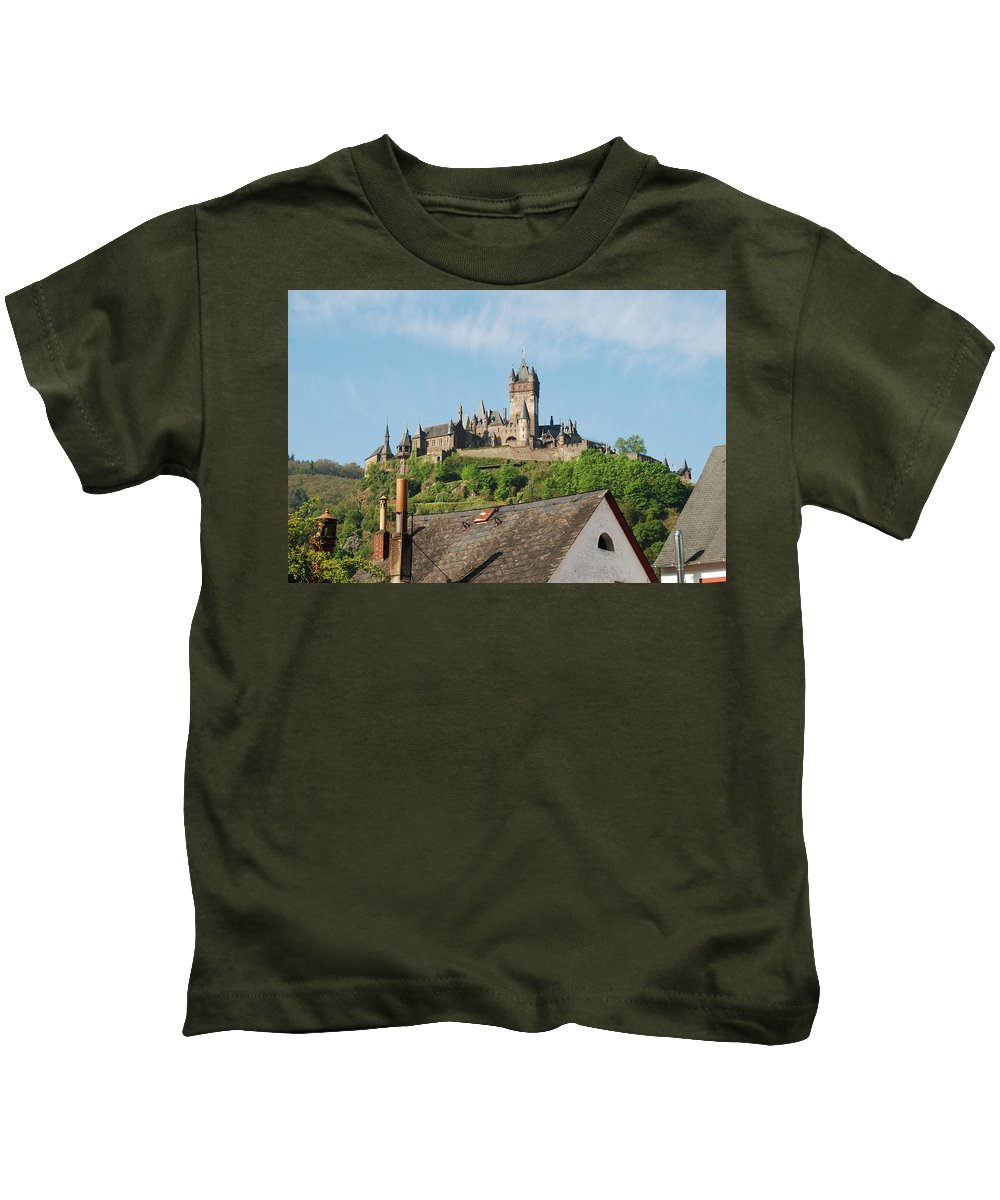 Castle Kids T-Shirt featuring the photograph Castle At Cochem In Germany by Victor Lord Denovan
