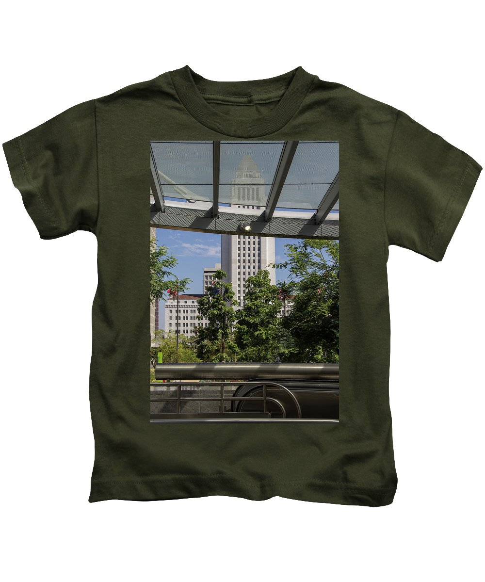 City Hall Kids T-Shirt featuring the photograph Civic Center Metro Station Los Angeles by Roslyn Wilkins