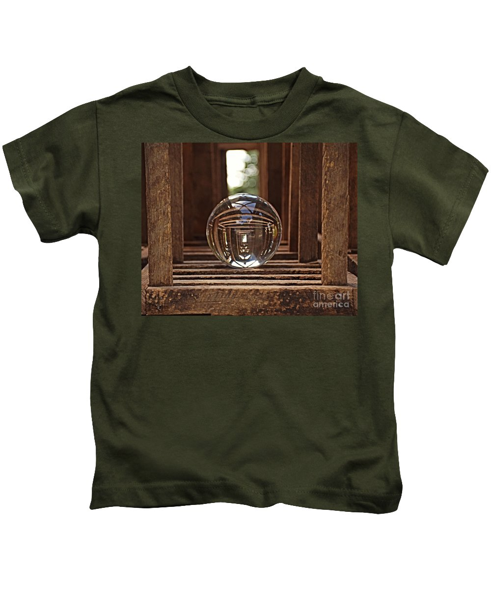Crystal Ball In Wooden Lanterns Kids T-Shirt featuring the photograph Crystal Ball In Wooden Lanterns by Kathy M Krause