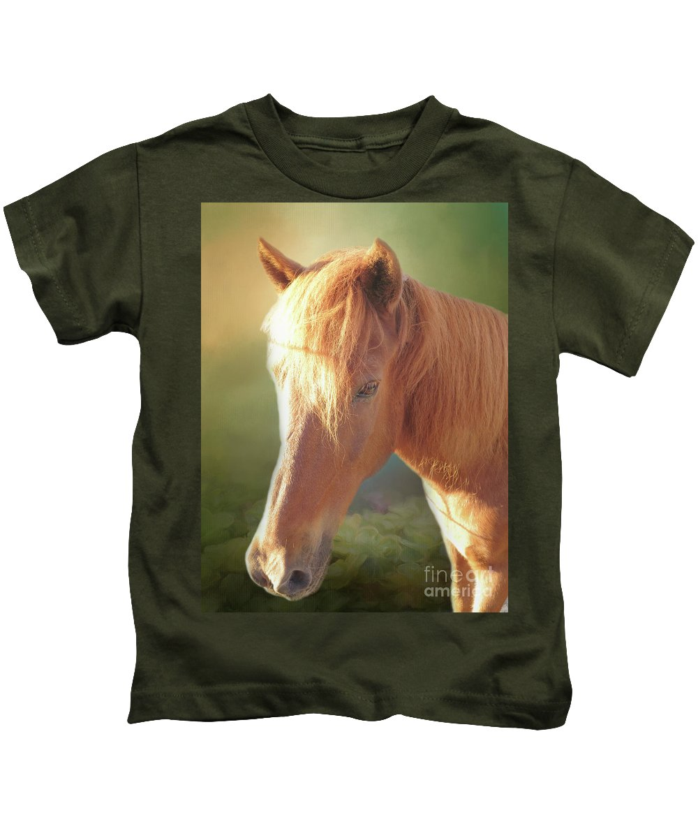 Icelandic Horse Kids T-Shirt featuring the digital art Cute Chestnut Pony by Elisabeth Lucas