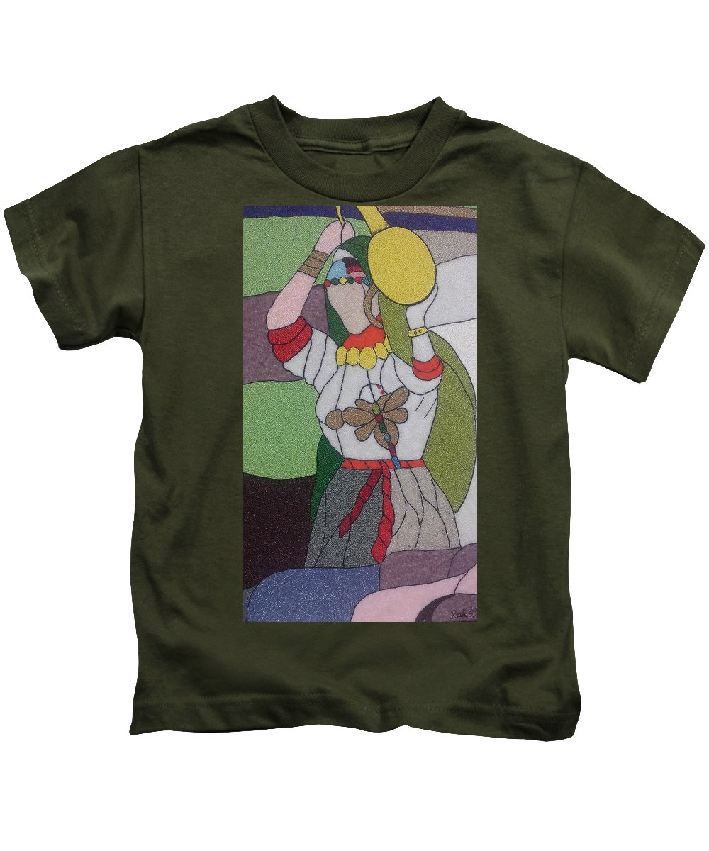 Woman; Glass; Colorful Kids T-Shirt featuring the glass art Different Woman by Rabia Elfaquih