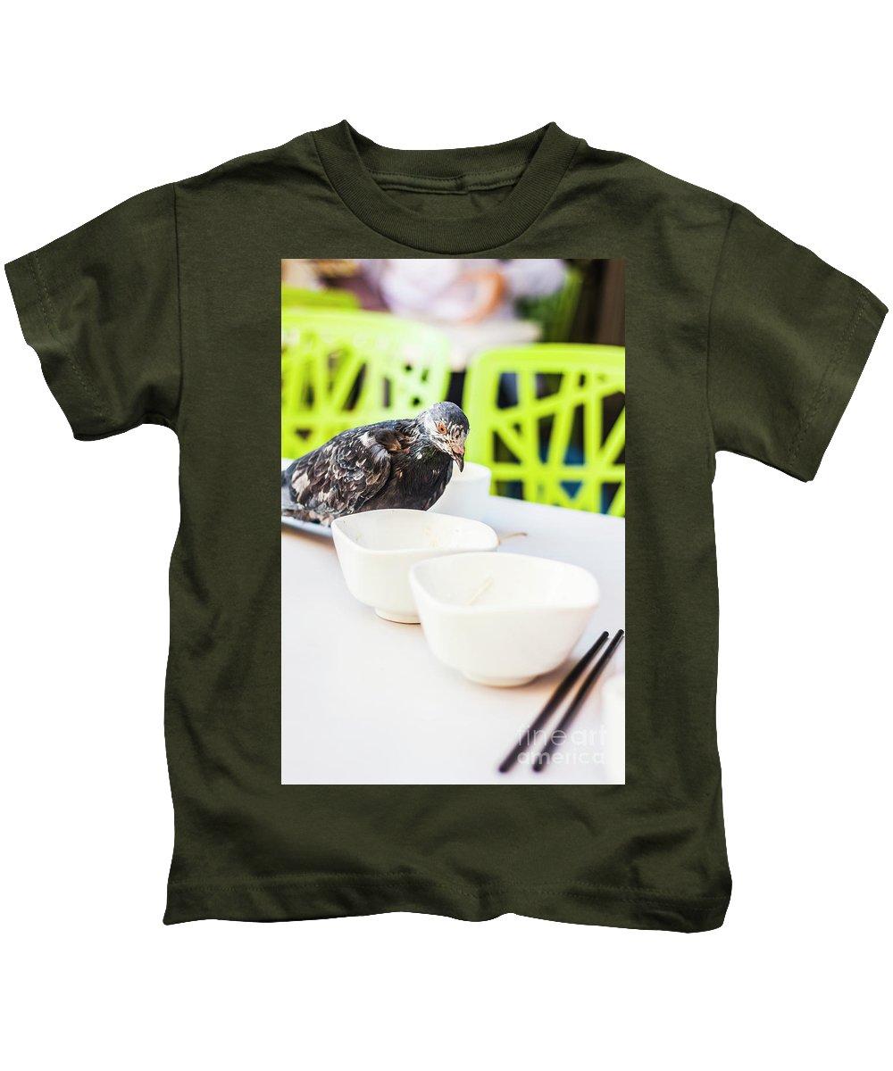 Bird Kids T-Shirt featuring the photograph Fast Food Asian Pigeon by Jorgo Photography - Wall Art Gallery
