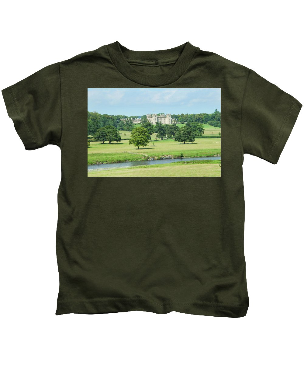 Floors Castle Kids T-Shirt featuring the photograph Floors Castle And River Tweed by Victor Lord Denovan