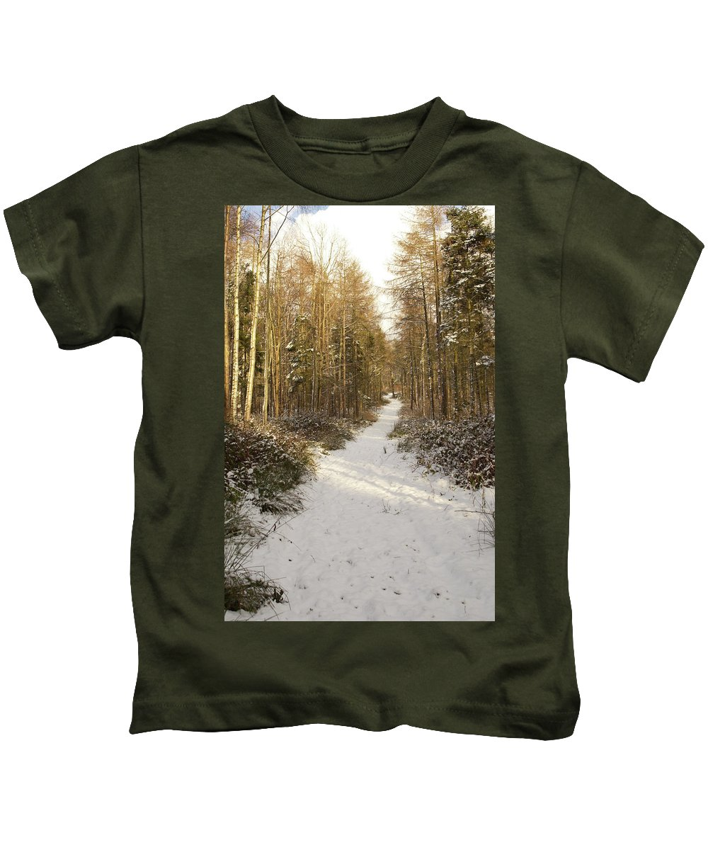 Forest Kids T-Shirt featuring the photograph Forest Track In Winter by Victor Lord Denovan