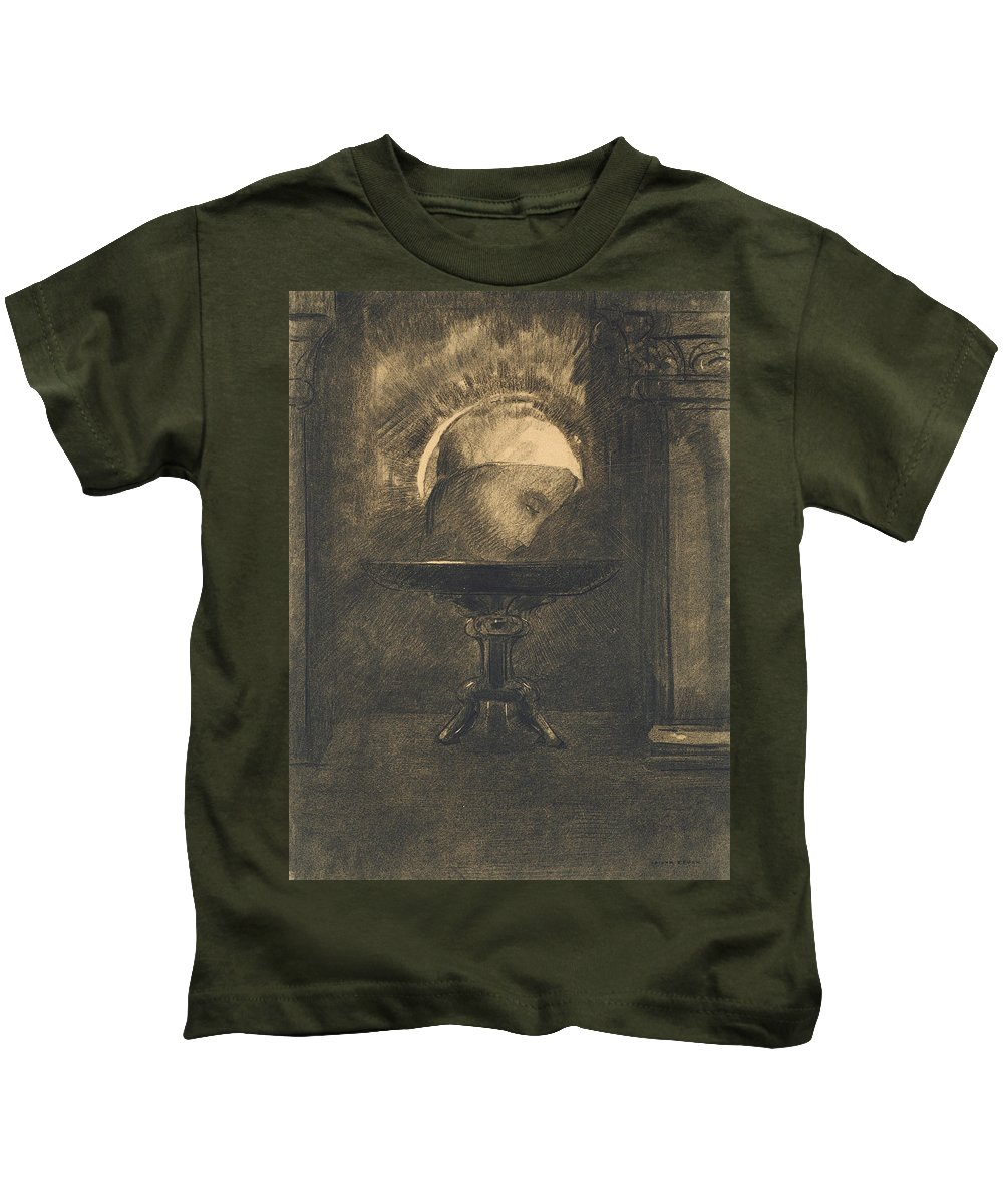 19th Century Art Kids T-Shirt featuring the drawing Head Wearing A Phrygian Cap, On A Salver by Odilon Redon