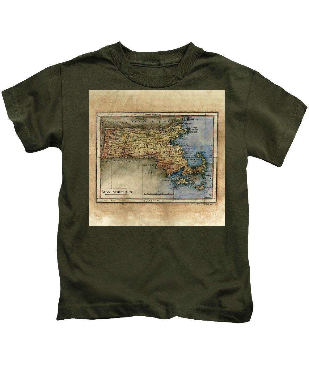 Historical Map Kids T-Shirt featuring the painting Historical Map Hand Painted Massachussets by Lisa Middleton