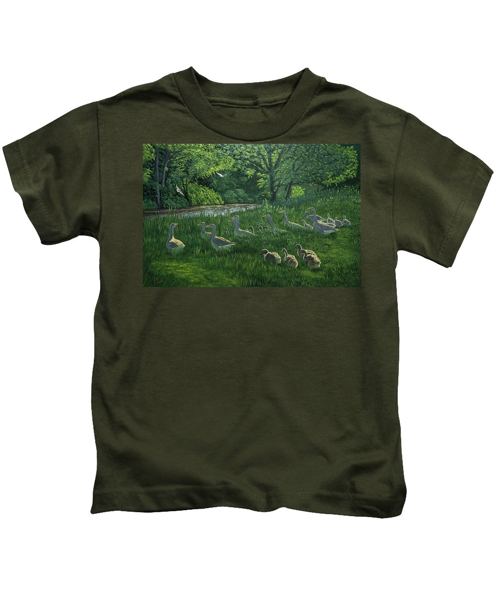 Riverscape Kids T-Shirt featuring the painting Last One In's A Duck by Raymond Ore