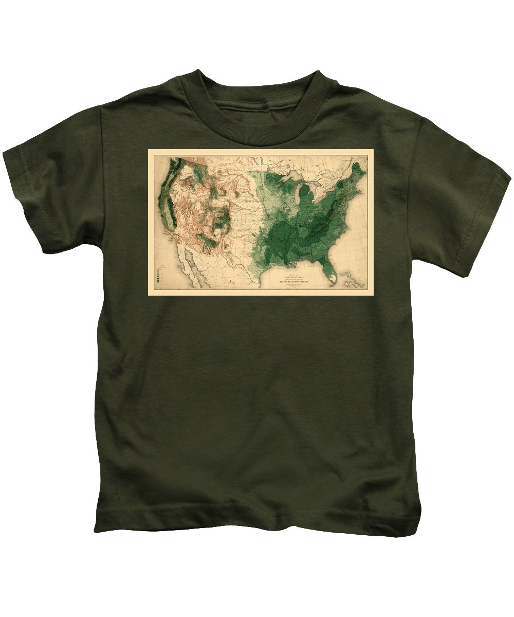Map Of American Forests Kids T-Shirt featuring the photograph Map Of American Forests 1883 by Andrew Fare