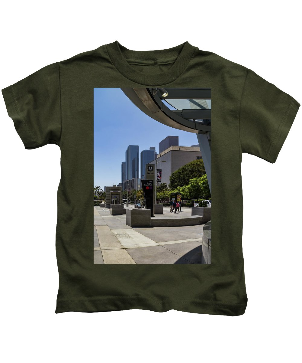 Los Angeles Kids T-Shirt featuring the photograph Metro Station Civic Center Los Angeles by Roslyn Wilkins
