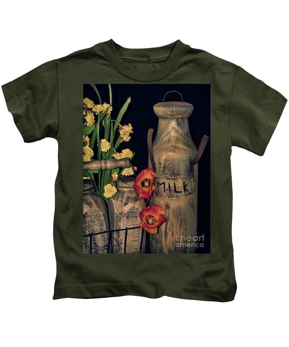 Crate Kids T-Shirt featuring the photograph Milk Bottles And Carrier by Charleen Treasures