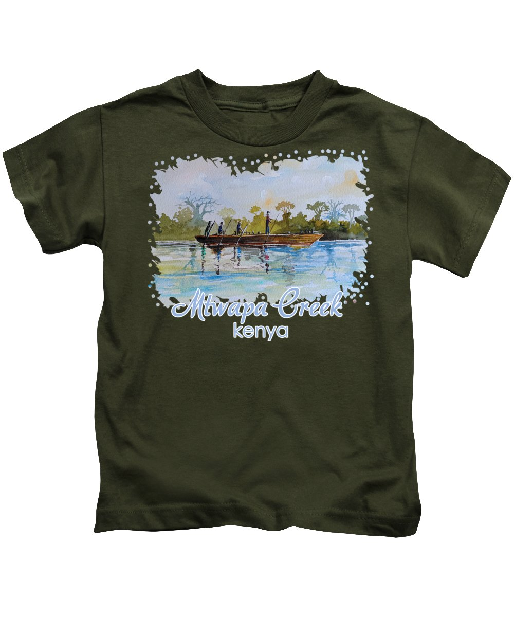 Creek Kids T-Shirt featuring the painting Mtwapa Creek Kenya by Anthony Mwangi