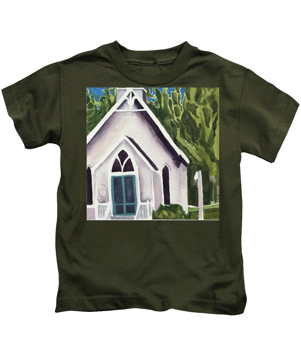 White Church Kids T-Shirt featuring the painting Old Church Copake Falls by Lynne Bolwell