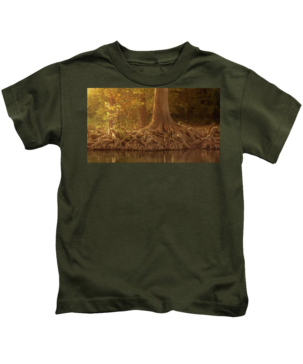 Roots Kids T-Shirt featuring the photograph Old Cypress Tree Roots by Cecilio Martinez