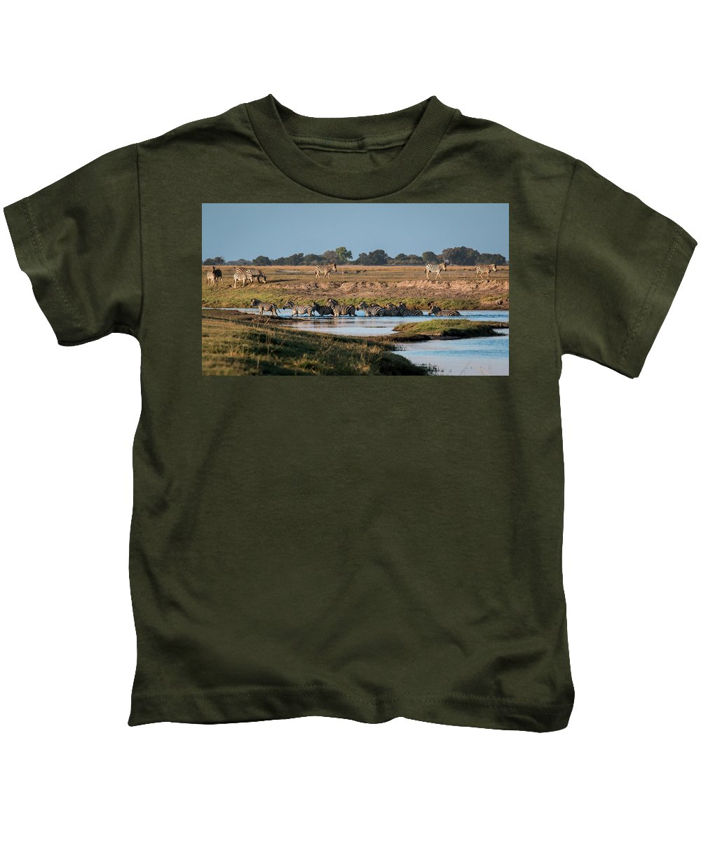 Zebra Kids T-Shirt featuring the photograph River-crossing Zebras by Claudio Maioli