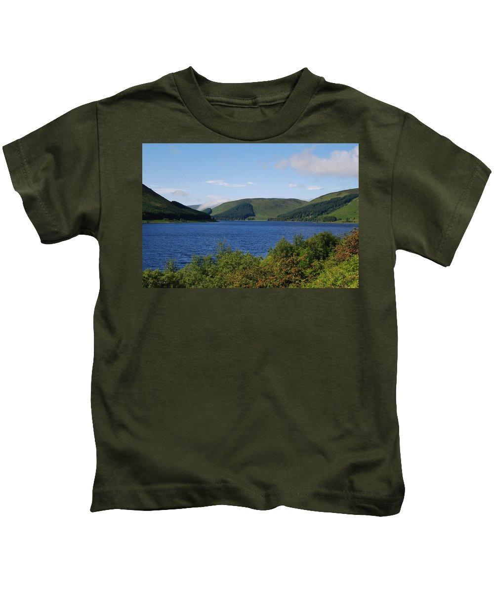 St. Marys Kids T-Shirt featuring the photograph St. Marys Loch In Selkirkshire by Victor Lord Denovan