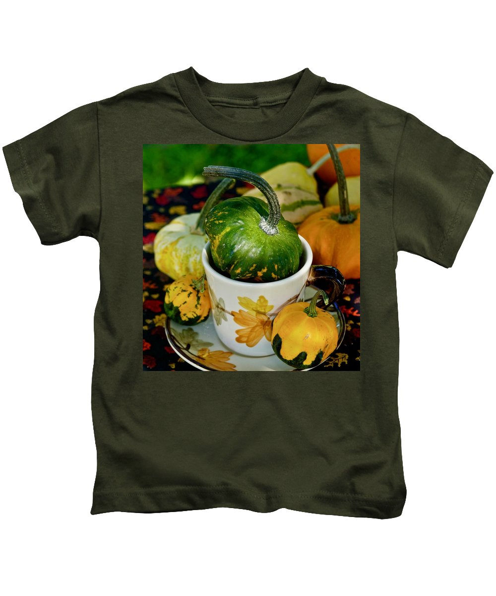 Coffee Cup Kids T-Shirt featuring the photograph Still Live With Autumn Coffee Cup And Gourds by Marsha McDonald