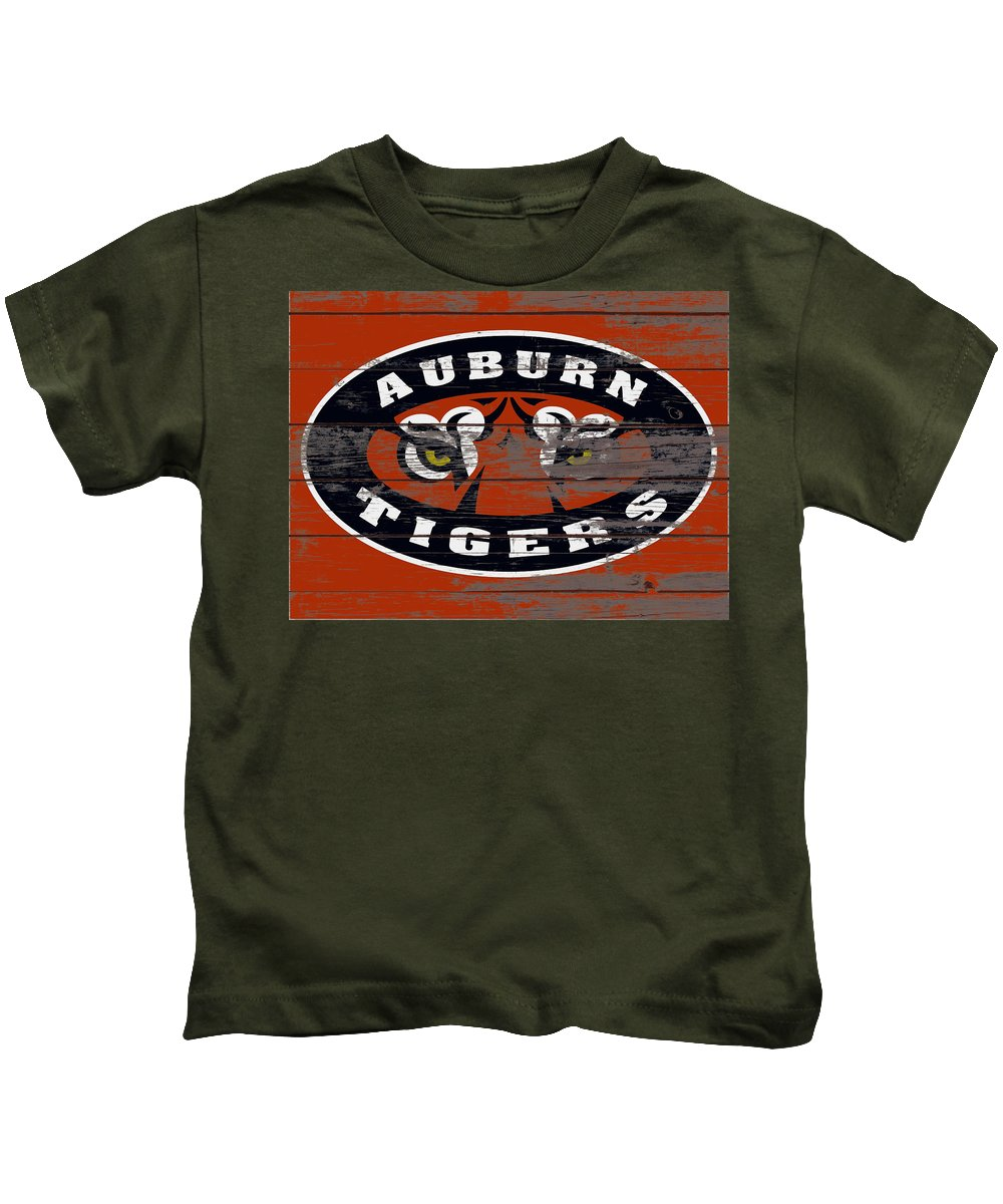 Auburn Tigers Kids T-Shirt featuring the mixed media The Auburn Tigers 3e by Brian Reaves