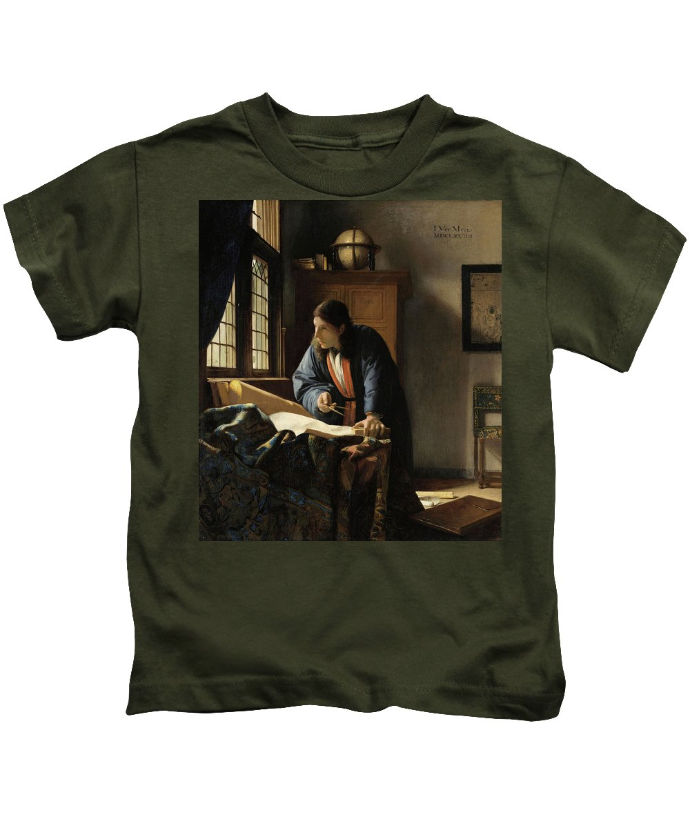 Jan Vermeer Kids T-Shirt featuring the painting The Geographer, 1669 by Jan Vermeer