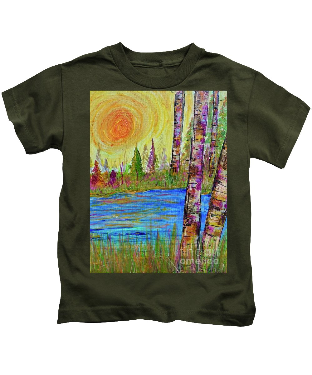 The Golden Hour Kids T-Shirt featuring the painting The Golden Hour by Jacqueline Athmann