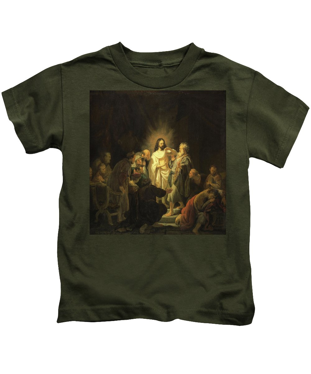 Rembrandt Harmenszoon Van Rijn Kids T-Shirt featuring the painting The Incredulity Of Saint Thomas by Rembrandt