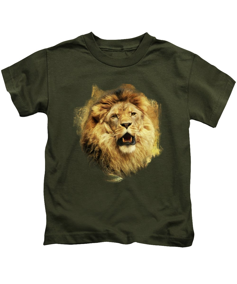 Lion Kids T-Shirt featuring the digital art The King by Angela Doelling AD DESIGN Photo and PhotoArt
