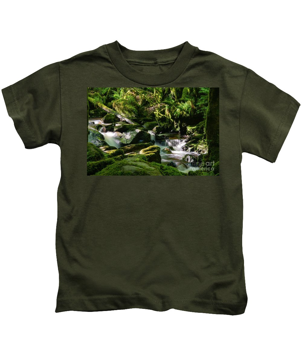 Torc Waterfalls Kids T-Shirt featuring the photograph Torc Waterfalls Two by Bob Phillips