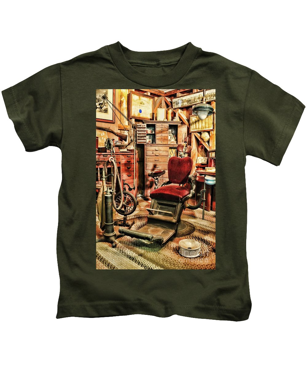 Dentist Kids T-Shirt featuring the photograph Vintage Dentist Office And Drill by Paul Ward