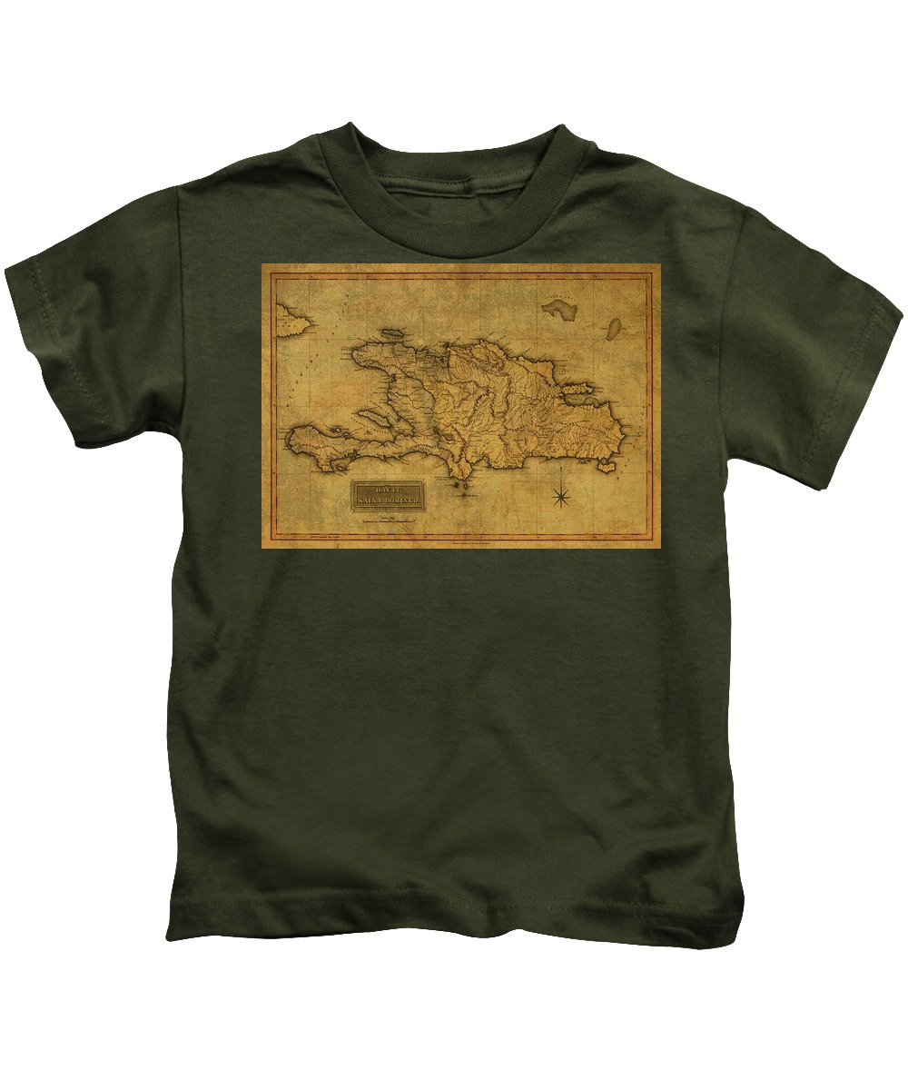 Vintage Kids T-Shirt featuring the mixed media Vintage Map Of Haiti 1820 by Design Turnpike