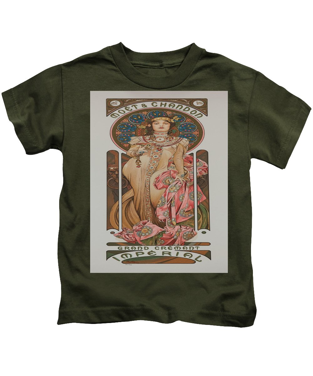 Vintage Poster Kids T-Shirt featuring the painting Vintage Poster - Champagne by Vintage Images