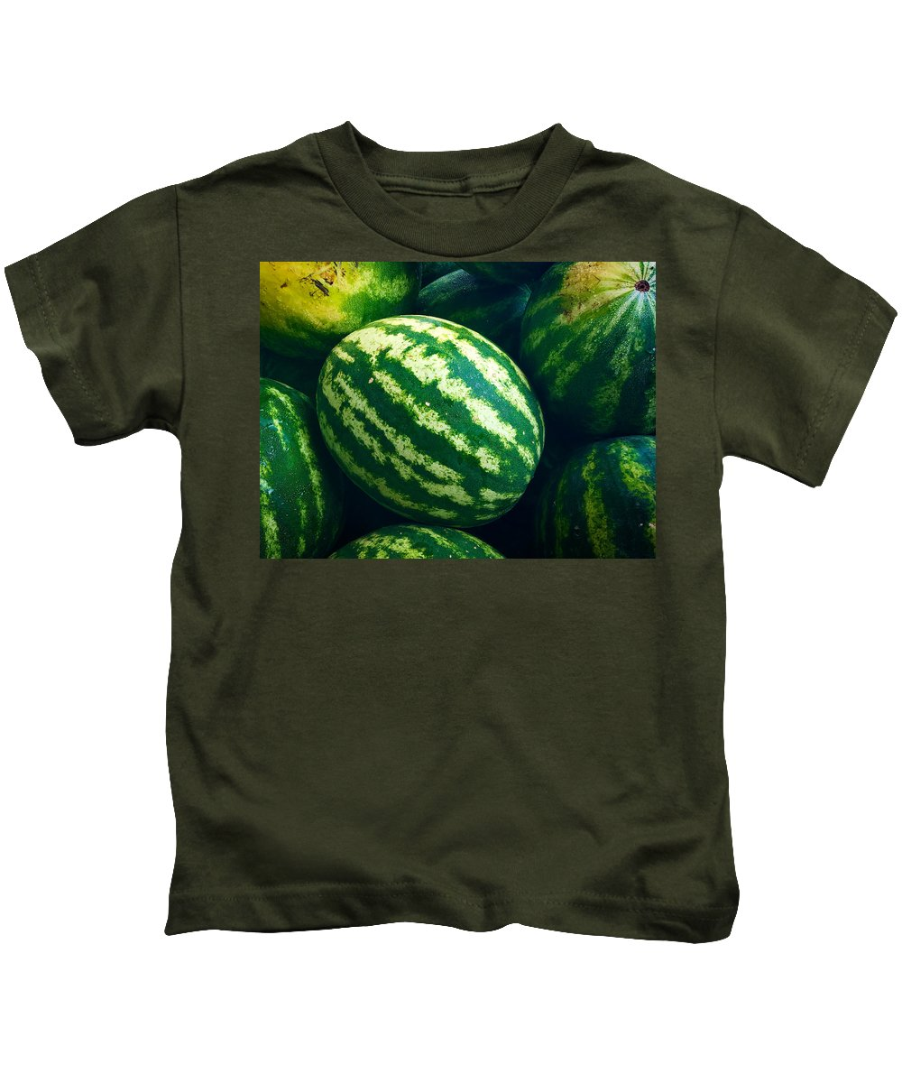 Watermelons Kids T-Shirt featuring the photograph Watermelons by Nathan Little