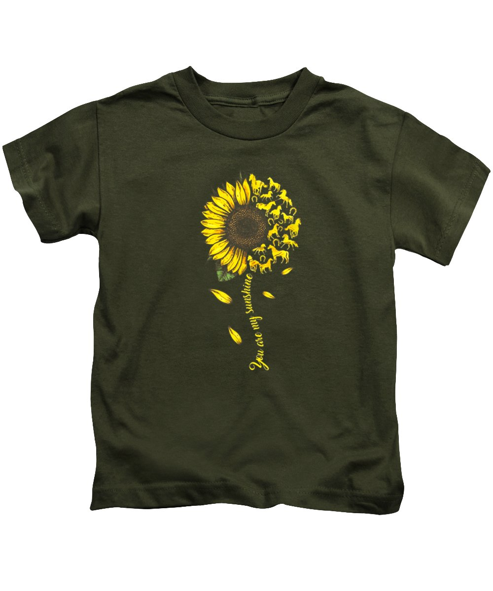 girls' Novelty Clothing Kids T-Shirt featuring the digital art You Are My Sunshine Sunflower Horse T-shirt For Men Woman by Unique Tees