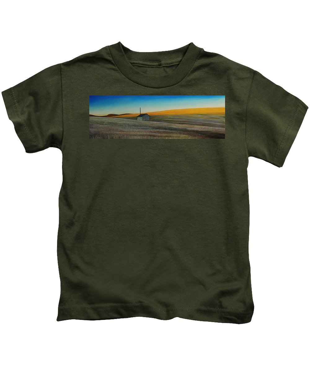 Wheat Kids T-Shirt featuring the painting Cold Field At Dusk by Leonard Heid