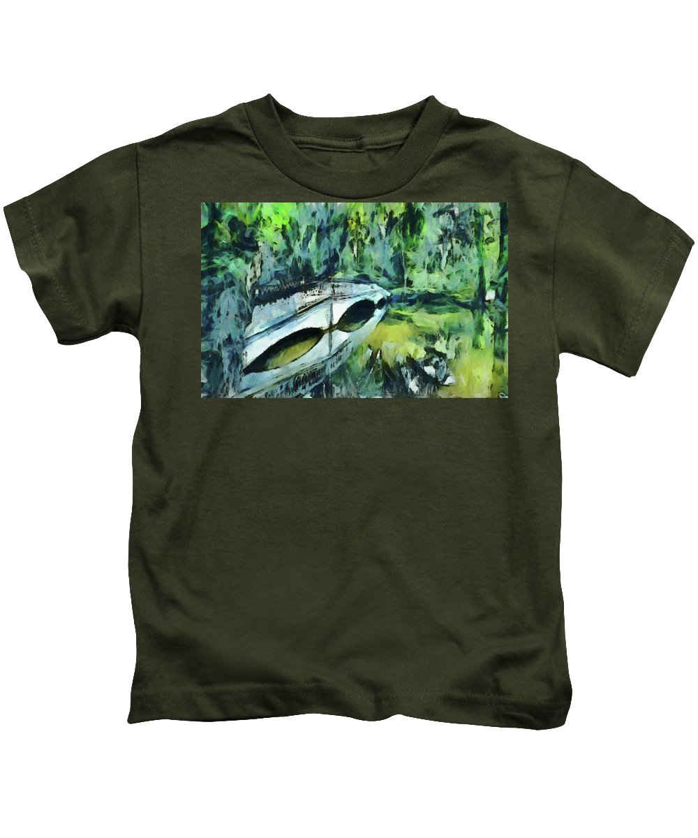 Impressions Kids T-Shirt featuring the painting Impressions Of Magnolia Garden Plantation by Dan Sproul